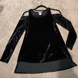 BP Black Crushed Velvet Open Shoulder Long Sleeve